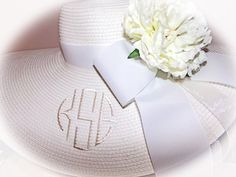 Monogrammed Personalized Bridal Bride by LaDiDaLadyBoutique (Accessories, Hat, Women, wedding hat, bridesmaid hat, floppy hat, personalized, ribbons, wedding, pink, wide brimmed hat, sun hat, derby hat, Colonial downs, Kentucky derby, Cream floppy hat)