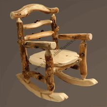 """Handcrafted from genuine aspen, this is our new """"Grizzly Aspen"""" log rocking chair. American-made and shipped to you free in 48 states! #logfurniture , #rockingchair"""