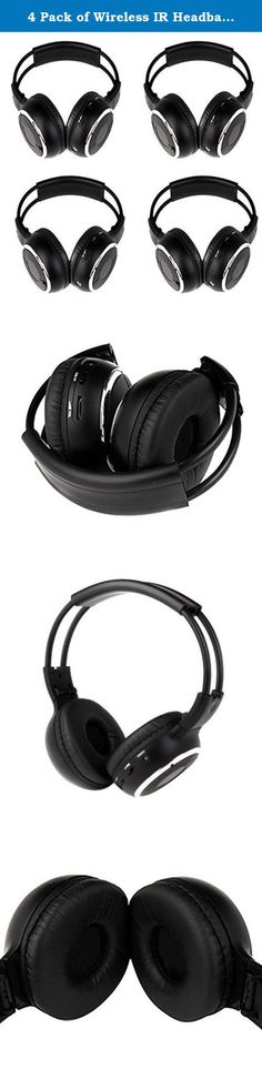 4 Pack of Wireless IR Headband Folding Headset Wireless Headphone Portable with Music Video TV Mp3 DVD CD Player Listening Base LCD FM. Product Description 4 Pack of Wireless IR Headband Folding Headset Wireless Headphone Portable with Music Video TV Mp3 DVD CD Player Listening Base LCD FM 1: Suitable for car audio system 2: Up to 12 meters operating distance 3: Automatic shut-off after 10 minutes of no signal detected 4: Ultra light design for comfortable wearing 5: Mini jack for audio...