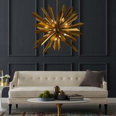 Modway Pervade Starburst Brass Pendant Chandelier Home - Bloomingdale's Brass Pendant Light, Pendant Chandelier, Chandelier Lighting, Chandeliers, Chandelier Ideas, Bedroom Lighting, Wood Bar Table, Wooden Tables, Chandelier In Living Room
