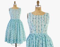 Vintage 60s SUN DRESS / 1960s L'Aiglon Blue ROSES Rosebud