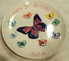 Butterfly Birthday Signature plate painted by staff at Color Me Mine Saucon Valley PA