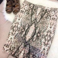bar III Skirt Snake print bodycon skirt. Zipper down backside. Very stretchy and flattering fabric. Bar III Skirts Midi