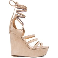 Tamara Mellon Yosemite Suede Wedge Sandals ($595) ❤ liked on Polyvore featuring shoes, sandals, heels, suede shoes, platform shoes, wedge heel sandals, leather sole shoes and suede platform sandals