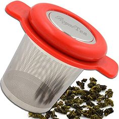Loose Leaf Tea Infuser - Perfect for Teapot Infuser, Tea Cups, and Coffee Mugs - Large Basket Tea Filter - Heat Resistant Silicone Handles and Lid - Extra Fine Mesh Tea Strainer - Stainless Steel *** For more information, visit image link.
