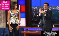 Michelle Obama Reveals Cleavage in Stunning floral Peplum top on Stephen Colbert