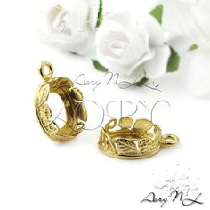 1pcs Brass Flowers and Leaves Crown Bezel Setting for by AoryNL