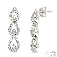 3/4 Ctw Round Cut Diamond Journey Earrings in 14K White Gold