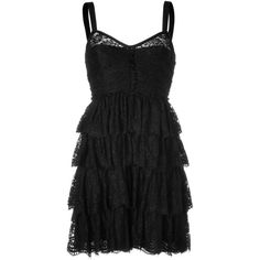 D DOLCE & GABBANA Black Tiered Lace Dress ($840) ❤ liked on Polyvore