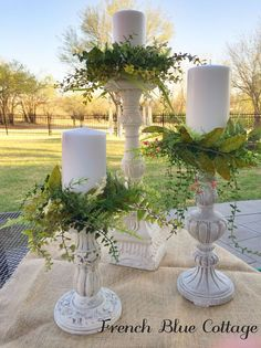 Spring Greenery Candle Rings is part of Candle decor - I really loved these candle rings I found in a magazine, but the price was a bit more than I wanted to spend So, I decided to make some of my own! Diy Candles, Pillar Candles, Beeswax Candles, Diy Candle Rings, Candle Centerpieces For Home, House Candles, Deco Table, Home And Deco, French Country Decorating