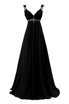 Sunvary New Bridesmaid Dress Evening Dress for Wedding Long Chiffon US Size 20W- Black