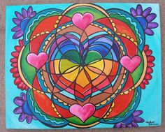 """March Madness Art Sale Healing Heart Mandala Original Acrylic Painting Rea"" by Heatherpeterman on Etsy"