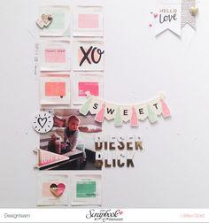 """#papercrafting #scrapbook #layout - """"Dieser Blick"""" mit Crate Paper Hello Love von Ulrike Dold"""