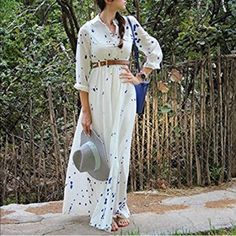 "White and blue maxi dress Long sleeves and can roll up. Chest button, elastic band. S-bust: 33-35 inches, length: 56-57 inches. M-bust: 35-37 inches, length: 56-57 inches. Height: at least 5'5"". 1-s, 2-m New without tag Dresses Maxi"