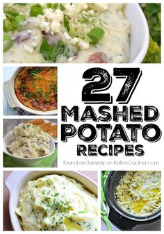 I'm sharing a list of 27 Mashed Potato Recipes from the basics to unique recipes that will jazz up your every day dinner or holiday feast! Top Recipes, Unique Recipes, Side Dish Recipes, Yummy Recipes, Ethnic Recipes, Recipies, Mashed Potato Recipes, Potato Dishes, Mashed Potatoes