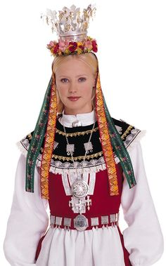 Wings of Whimsy: Traditional Norwegian Bridal Crown - Nordmøre Norwegian Clothing, Norwegian Fashion, Folk Costume, Costumes, Norwegian People, Norwegian Wedding, Bridal Crown, Culture, Historical Clothing