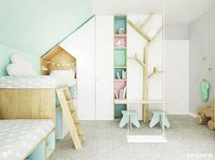 Girls room by Spoiwo Studio #kids #kidsroom #girlsroom #bunkbed #housebed #sheredroom #kidsinterior #kidsdesign