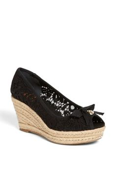 Gorgeous black lace wedge espadrille by Tory Burch.