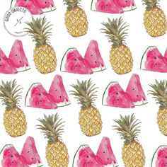 Good objects - Pineapple & Watermelon pattern  #goodobjects Watercolor illustration