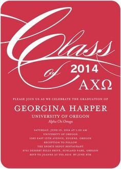 Pledge Class Party: Alpha Chi Omega - Greek Graduation Invitations in a bright Cranberry Red. #graduation