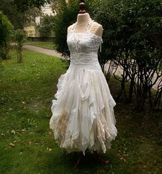 Alternative Upcycled Wedding Dress with Pieces of by cutrag, $355.55