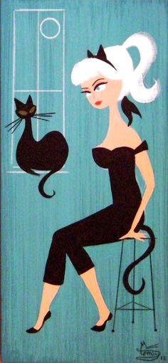 Дама и кошки