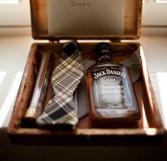 Jack Daniels, tie, and a cigar.
