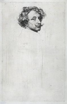 Anthony van Dyck, Self portrait, c. 1630. Etching. Rijksmuseum.
