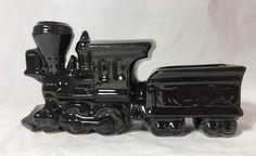Train Locomotive Black Glossy Ceramic Decorative Collectible Planter  | eBay