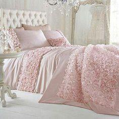 Shabby chic pink rosette bedroom. LOVE!