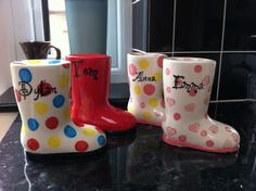Money Box Welly Boot Hand painted & personalised in a choice of colours and designs Bisque Pottery, Wellies Boots, Money Box, Love Craft, Crafts To Sell, Christening, Special Gifts, Rubber Rain Boots, Kids Room