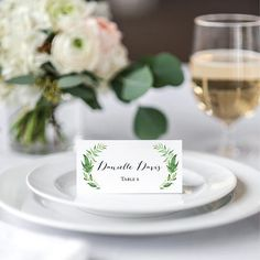 green wedding name cards printable wedding tented place cards
