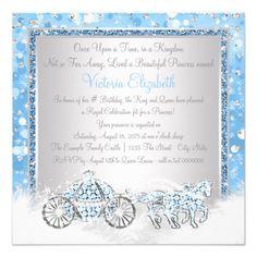 Blue and Silver Cinderella Princess Birthday Party Card Cinderella Party Invitations, Cinderella Theme, Princess Invitations, Cinderella Birthday, Quinceanera Invitations, Princess Birthday, Zazzle Invitations, Birthday Party Invitations, Cinderella Princess