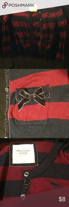 A&F cardigan Worn navy and burgundy horizontal stripped button cardigan. Has cute bows on front pockets. Abercrombie & Fitch Sweaters Cardigans