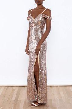 Rose gold sequin maxi dress with a high thigh slit, off shoulder straps and a zipper closure.   Sequin Off Shoulder Dress by luxxel. Clothing - Dresses - Maxi Manhattan, New York City New York City