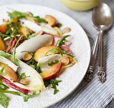 Yummy Supper: Peach, Endive, Arugula, and Marcona Almond Salad