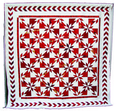 Since November is the month with the Hunter's Moon, I call is November Star. Queen-size quilt reds and white. Hunters Star Quilt, Sewing Hacks, Sewing Tips, Sewing Ideas, Queen Size Quilt, Fall Quilts, Quilt Border, Star Quilts, Star Patterns