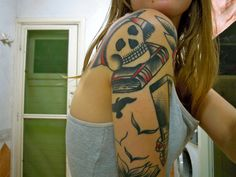 """""""more ink,"""" by Elizabeth Skene, via Flickr -- In addition to the skull and books, the corner of what's peeking around from the front is a card catalog! See it here: https://www.pinterest.com/pin/175218241729125840/"""