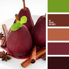 бордовый, винный цвет, коричневый, красный, осенние оттенки, оттенки коричневого, подбор красок для ремонта, цвет вина, цвет винной груши, цвет груши в вине, цвет корицы, цвет красной груши, цвет мяты, цветовая палитра для осени, яркий салатовый. FacebookTwitterPinterestGoogle