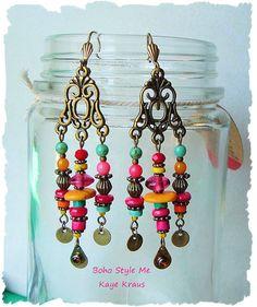 Boho Tribal Gypsy Dangle Earrings Bohemian Jewelry by BohoStyleMe