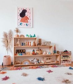 Its not quite finished but i couldn't resist 🙊 Brooklyn's toy shelf has had a mini update and I'm completely obsessed! New toys means new… Playroom Design, Kids Room Design, Playroom Decor, Waldorf Playroom, Toddler Playroom, Nursery Room, Kids Bedroom, Room Baby, Montessori Toddler Rooms