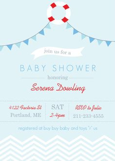 Nautical Flags And Lifesaver Baby Shower Invitation