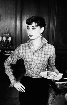 Audrey Hepburn, 1954 - this shows how creative she was... she's wearing a standard shirt and just pulled it around to make it a wrap shirt...huh...