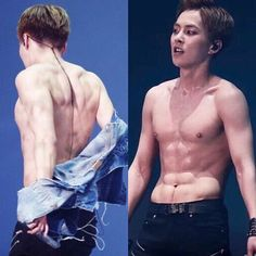 Sexy photo of a talented man  — Minseok's abs are the most attractive and solid omg look  he got six packs as well