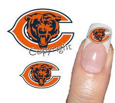 50 Chicago Bears Decal sticker   Tattoo Nail Art 2 by Tarlidada, $4.00