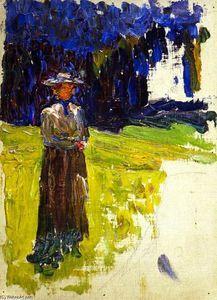 Wassily Kandinsky - Kochel - Dame Stehen vorbei der Forest-s Kante