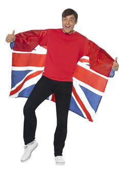 Wearable Union Jack Flag, wear this fantastic novelty accessory with pride to celebrate Great Britain, The Queen's Diamond Jubilee or The Olympic's Union Jack Suit, Queen 90th Birthday, Royal Party, Party Accessories, Jack Flag, Suits, Celebrities, British, Winter Olympics