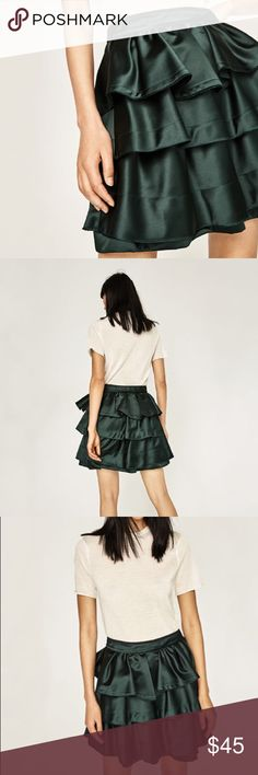 NWT [zara] green ruffled satin skirt NWT. High-waisted skirt with frills. Satin type fabric and rear zip closure. SO girly feminine. Bought it to wear to a function but ended up wearing smthng else. XS but can also accommodate S. Zara Skirts Mini