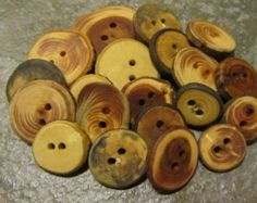 Wooden Button Variety Bag. 20 Buttons. .75 To 1.75 Inches Wide.