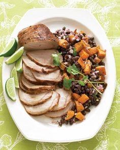 Roasted Pork Loin with Black-Bean and Sweet-Potato Salad Recipe